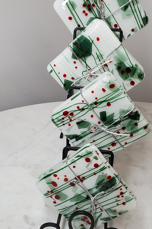 Fused Glass Holiday Coasters Opaque