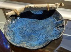 Shallow Cobalt Blue Ceramic Bowl