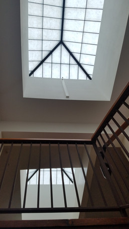 Skylights above stairs and hallway