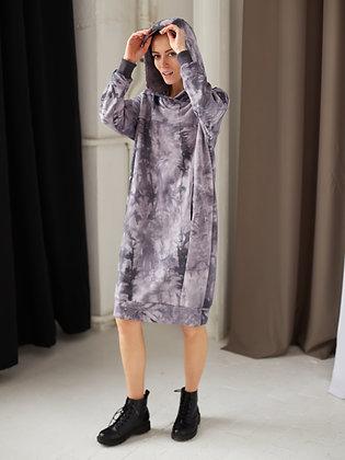 Платье-худи тай-дай фиолетовый