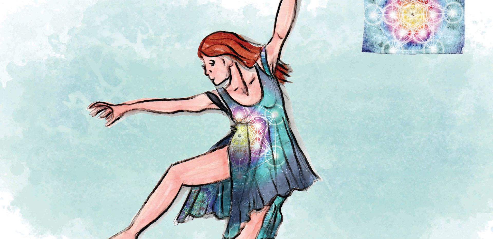 Solo Dance Group 4 Renderings with Digital printed 4 way stretch Fabric Swatch