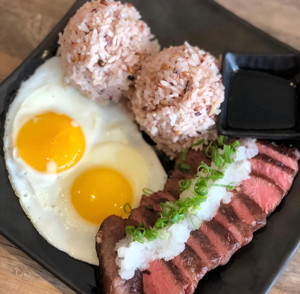 Steak and Eggs with rice