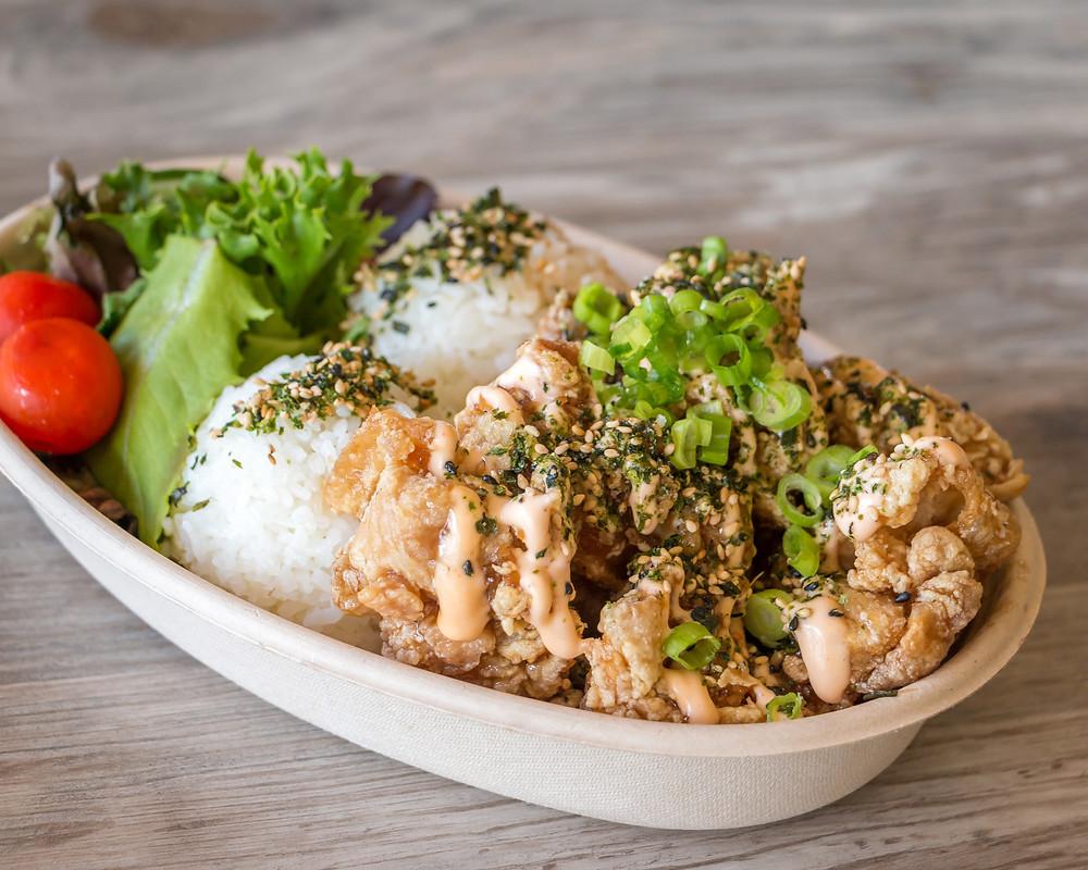 Garlic Chicken Plate with rice raft neighborhood kitchen