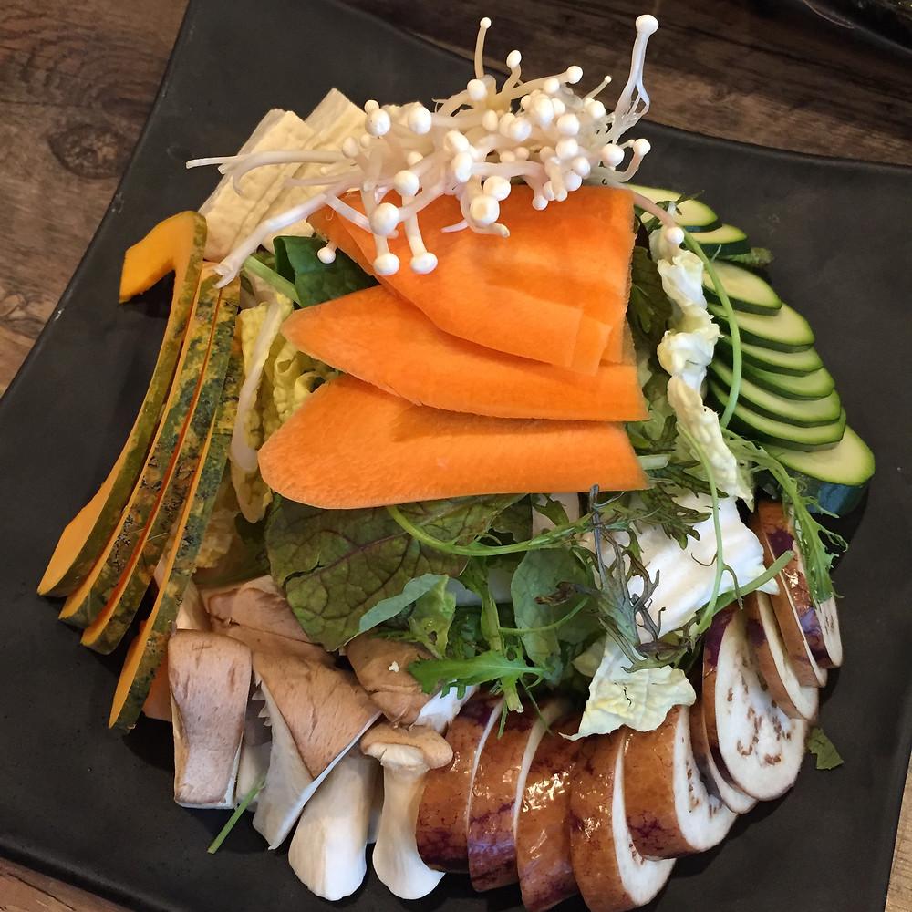 Rokaru Shabu Shabu vegetables carrots, mushrooms, zucchini, eggplant