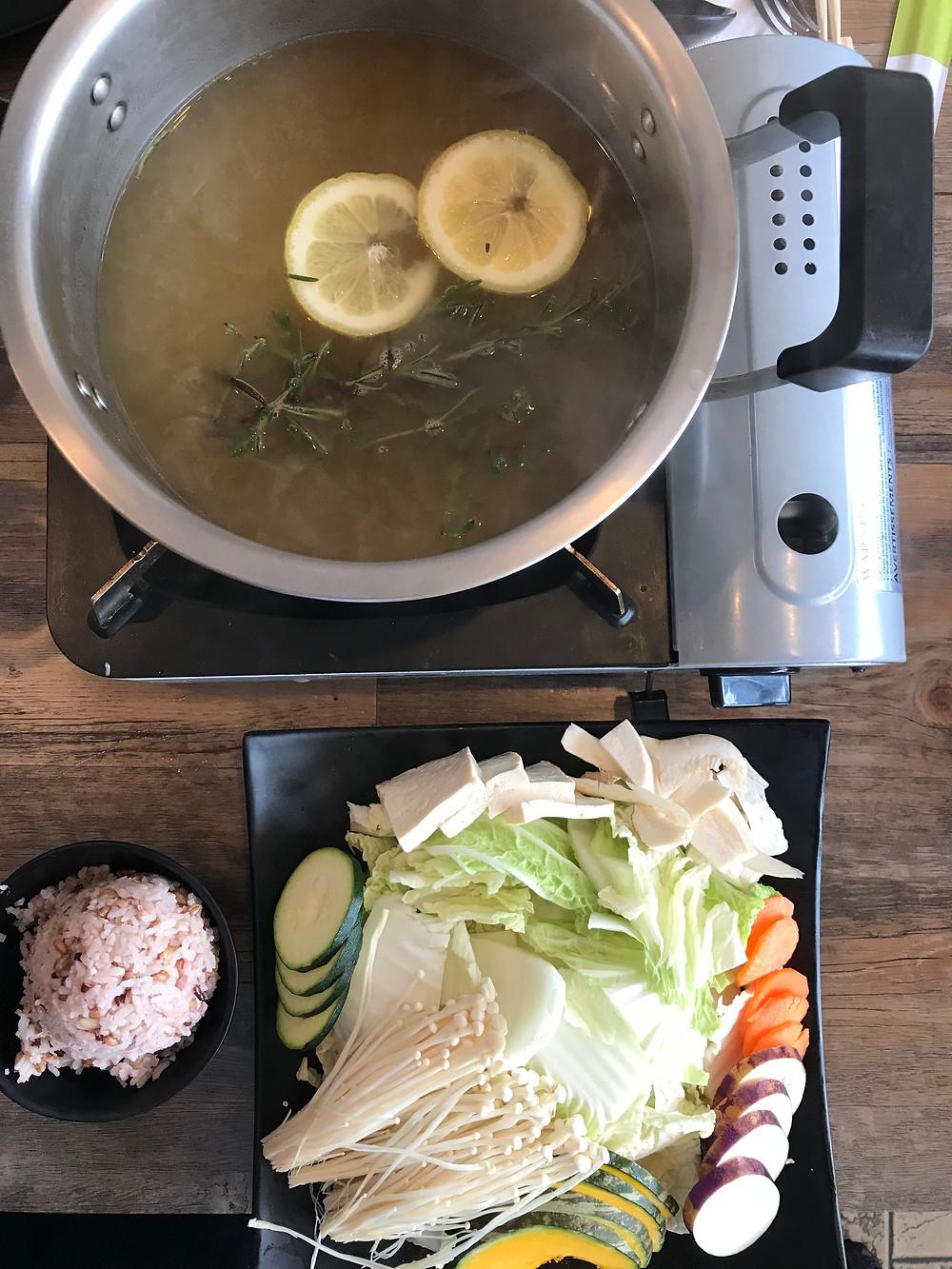 Shabu Shabu, enoki mushrooms, Rokaru shabu shabu set
