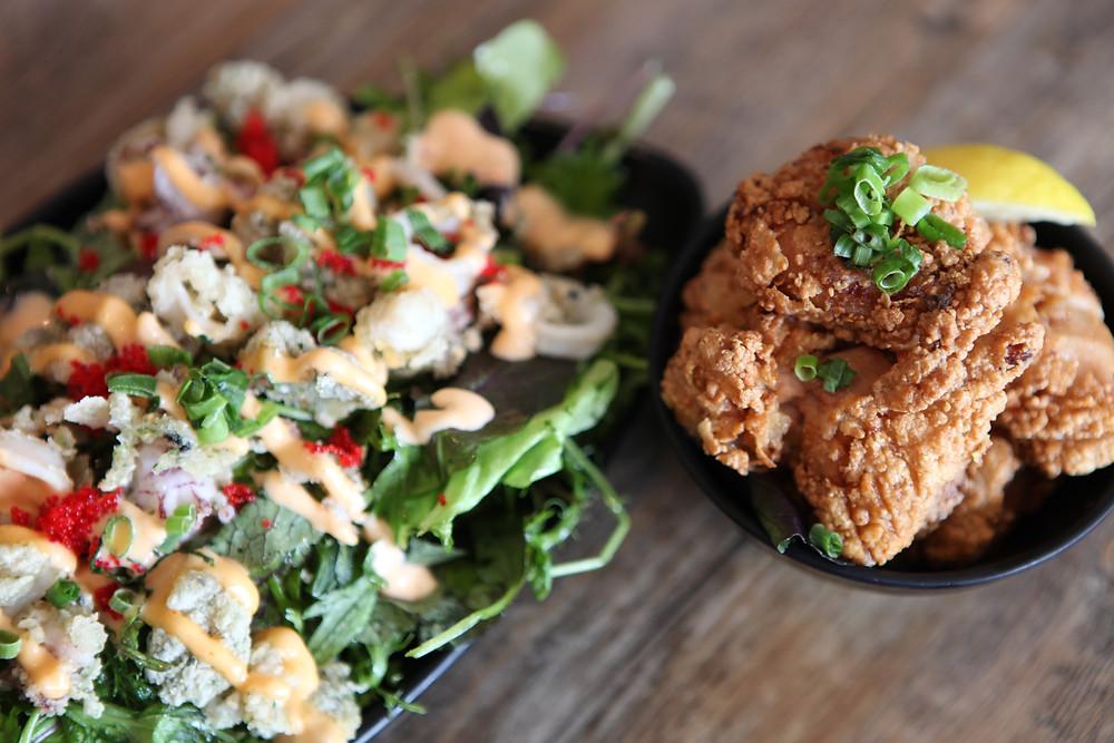 Rokaru Shabu Shabu Crispy Calamari Salad & Chicken Kaarage