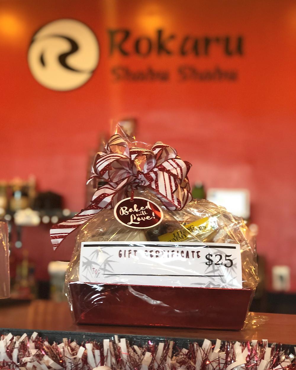 Gift basket at Rokaru Shabu Shabu