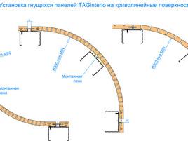 Установка панелей на криволинейных  поверхностях