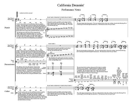 California Dreamin' (2008) for cello, piano, percussion, and audio playback