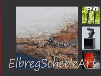 Visitekaartjes nieuwe lay-out ElbregScheeleArt binnen.