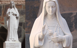 St. Rose of Lima marble statue with base