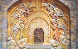 Adoring angels and tabernacle door low relief back wall wood carving