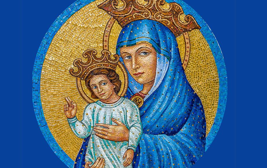 Mater Ecclesiae exterior smalti mosaic