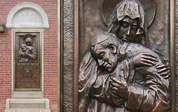 Memorial plaque dedicated to Pope St. Paul II bronze high relief