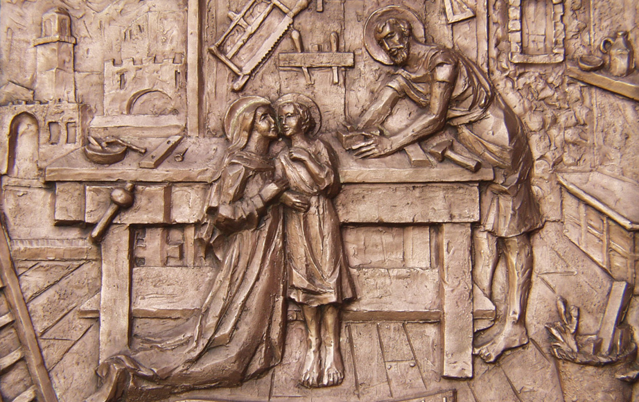 Holy Family low relief bronze cast door detail