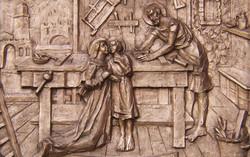 Holy Family low relief bronze cast door detail
