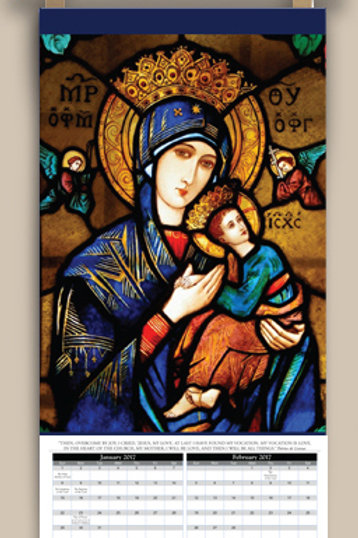Calendar with image of Our Lady of Good Help