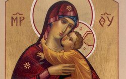Our Lady icon oil painting with gold leaf