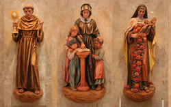 St. Anthony, St. Francis Cabrini and St. Theresa de Lisieux wood statues with antique finishes