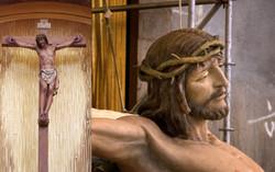 Wood crucifix with antique finish