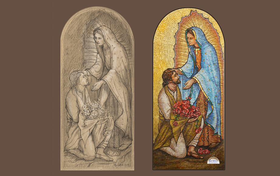 Our Lady of Guadalupe narthex smalti mosaic