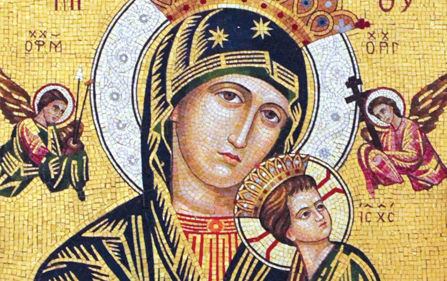 Our Lady of Perpetual Help devotional space smalti mosaic