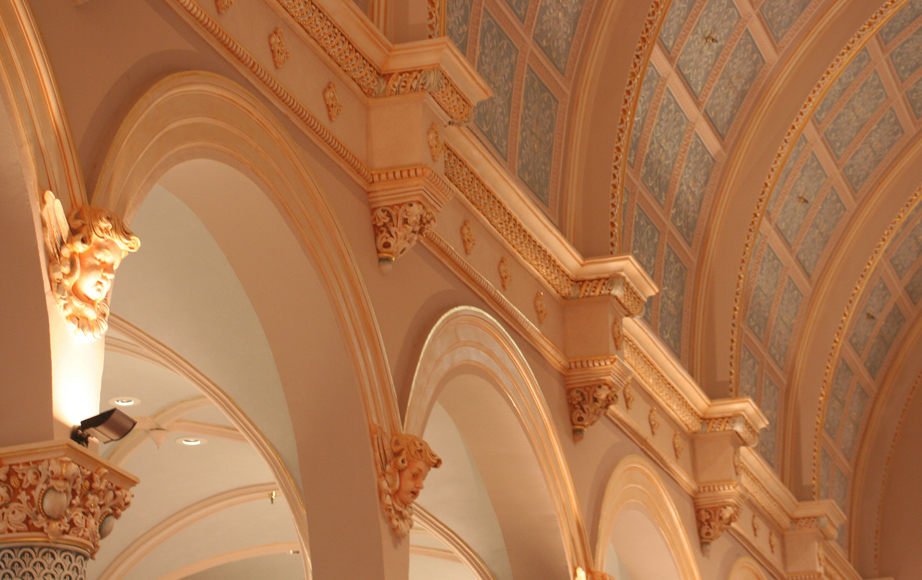 Plaster and architectural details, decoration, gold leaf and finishes
