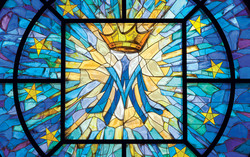 Marian transept stained glass window