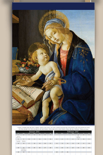 Calendar with image of Madonna, Botticelli