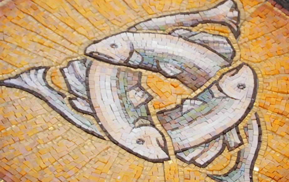 Trinity symbol baptismal font inlay smalti mosaic