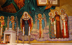 Pantocrator sanctuary apse mural fresco on canvas