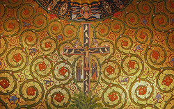San Damiano cross fresco mural with faux mosaic