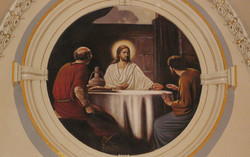 Resurrected Christ and two Apostles oil painting on canvas