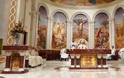 Altar, ambo, cathedra, baptismal font and tabernacle throne