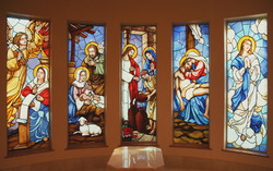 Blessed Mother devotional space stained glass