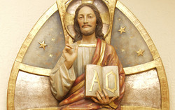 Christ in Glory high relief wood carving