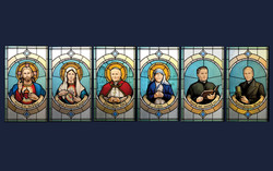 Saints stained glass windows