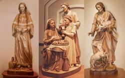 St. Kateri, Holy Family and Good Shepherd wood statues with natural finishes