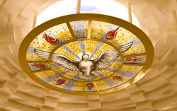 Fused painted glass dome center interior panel