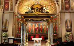 Apse back wall mural and faux mosaic