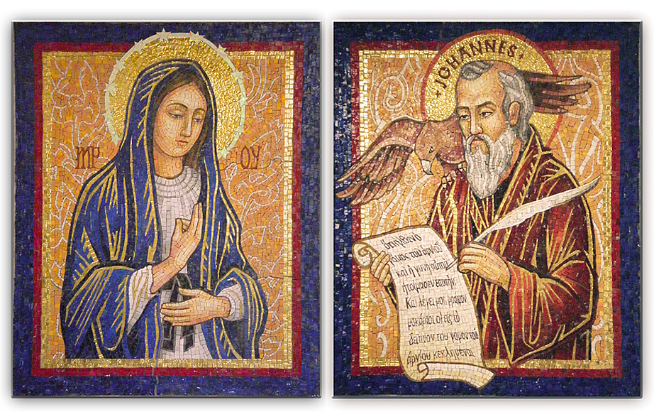 Immaculate Conception and St. John the Baptist smalti mosaic side shrines
