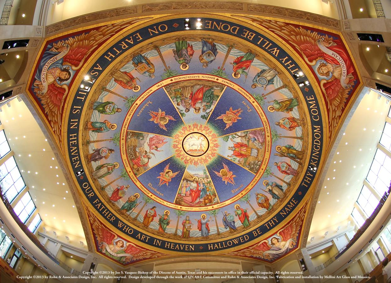 Trinity through the Cross dome smalti mosaic
