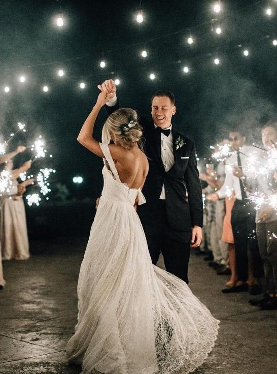 Wedding dance shot sparklers