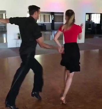Leon Spratt and Velina Klyots, dance teachers at Inga Haas School of Dance, dancing Cha Cha Cha at practice