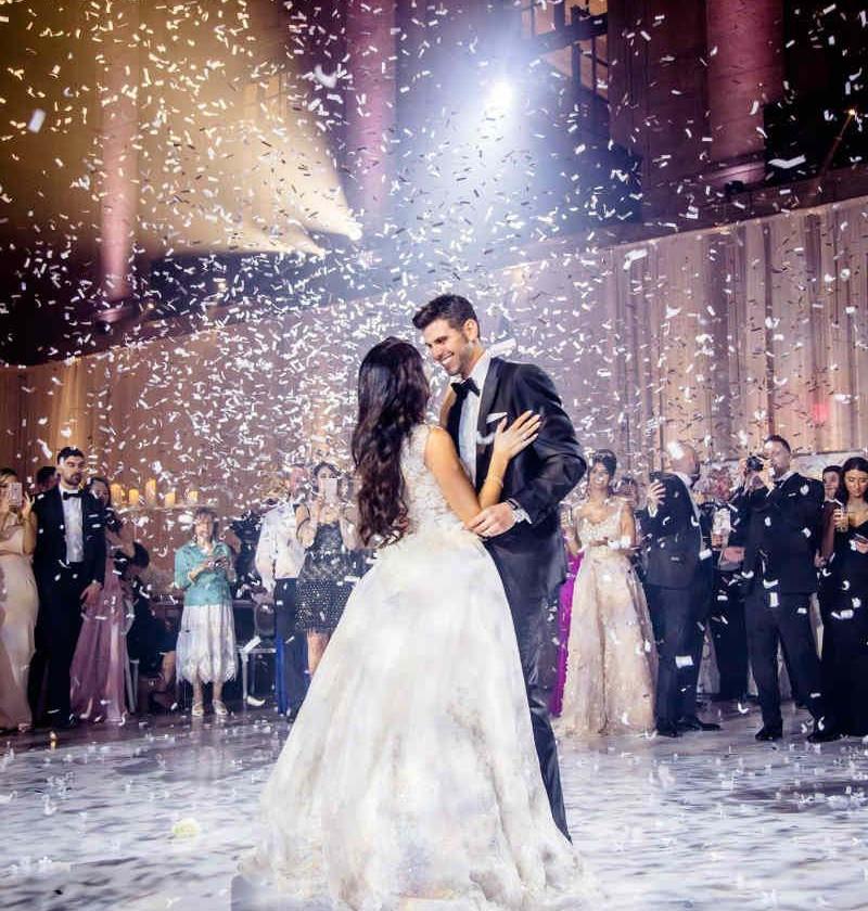 Wedding dance and confetti
