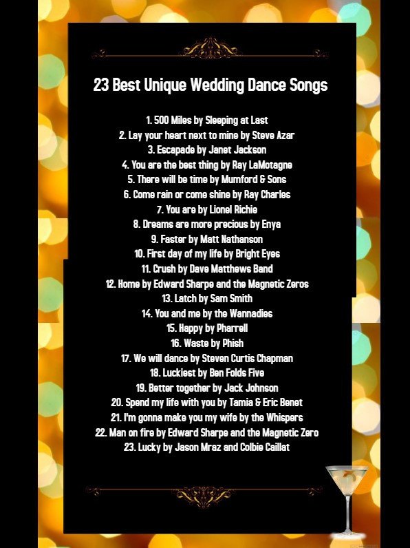 | 23 Best Unique Wedding Dance Songs | Wedding dance songs | First Dance Songs | Bridal Dance Songs |