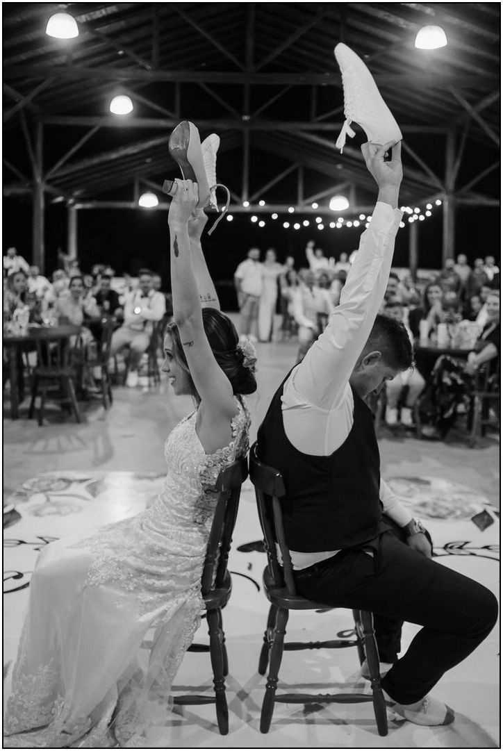 Wedding dance couple performing a mashup at their wedding