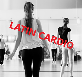 Group of women in a Latin cardio dance class