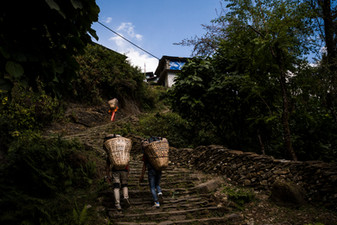 Porters carrying Dokos (bamboo baskets) with trekkers equipments. Nepal, 2019