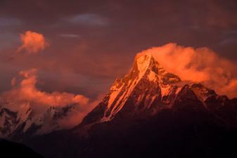 Sunset lighting up Mount Fishtail. Nepal, 2019.